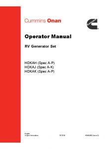 Onan generator operator manual