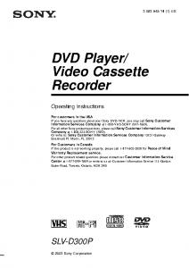 sony DVD-VCR SLV-D300P manual